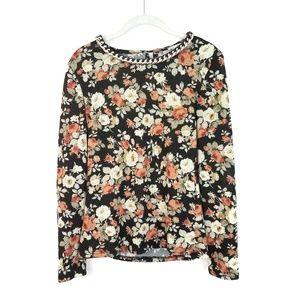 GRIFFLIN PARIS Floral Chain Necklace Sweater